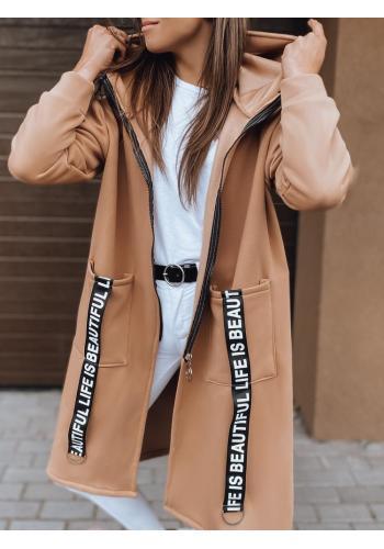 Dlouhá dámská oversize mikina hnědé barvy s kapucí