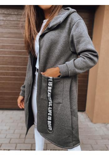 Dámská dlouhá oversize mikina s kapucí v tmavě šedé barvě