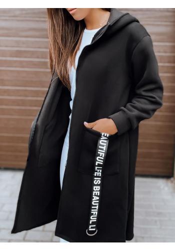 Černá dlouhá oversize mikina s kapucí pro dámy