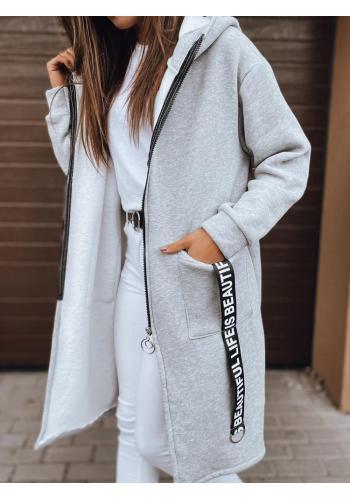 Dlouhá dámská oversize mikina světle šedé barvy s kapucí