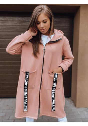 Dámská dlouhá oversize mikina s kapucí v růžové barvě