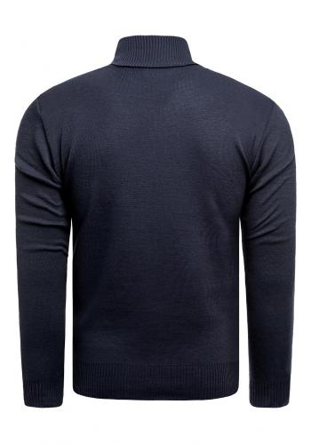 Tmavě modrý svetr se zapínaným výstřihem pro pány