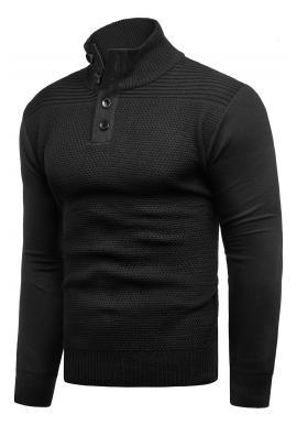 Pánský svetr se zapínaným výstřihem v černé barvě