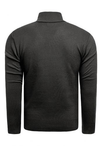 Tmavě šedý svetr se zapínaným výstřihem pro pány