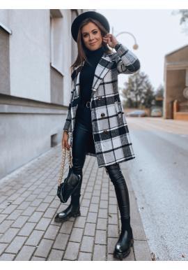 Kostkovaný dámský kabát černé barvy s páskem