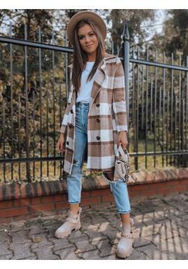 Dámský kostkovaný kabát s páskem v hnědé barvě