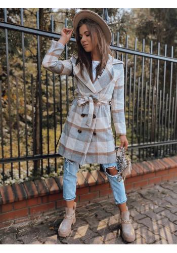 Světle šedý kostkovaný kabát s páskem pro dámy