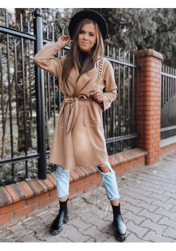 Klasický dámský plášť hnědé barvy s páskem