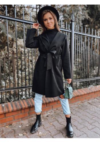 Dámské klasické pláště s páskem v černé barvě