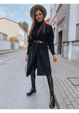 Černý klasický kabát s páskem pro dámy