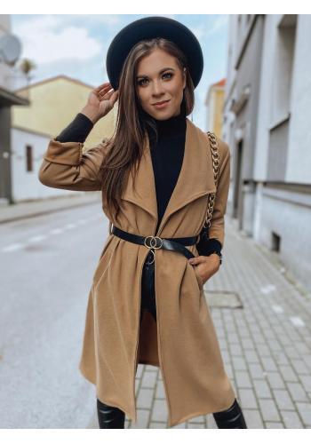 Klasický dámský kabát hnědé barvy s páskem