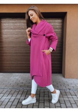 Dlouhé dámské oversize mikiny růžové barvy zapínané na knoflík