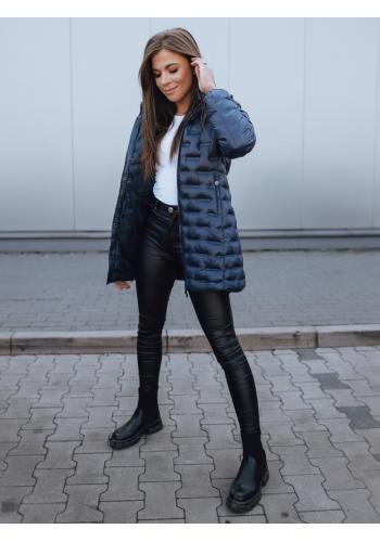 Dámské prošívané bundy s kapucí v tmavě modré barvě