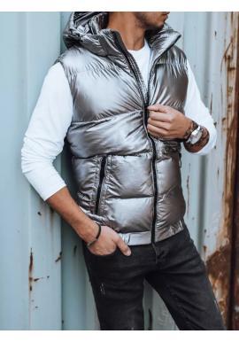 Prošívaná pánská vesta stříbrné barvy s odepínací kapucí
