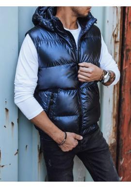 Tmavě modrá prošívaná vesta s odepínací kapucí pro pány