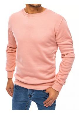 Klasická pánská mikina růžové barvy bez kapuce