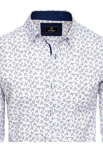 Vzorované pánské košile bílé barvy s dlouhým rukávem