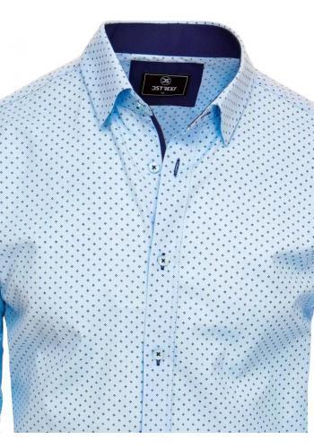Vzorovaná pánská košile světle modré barvy s dlouhým rukávem