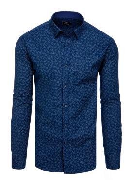 Tmavě modrá elegantní košile se vzorem pro pány
