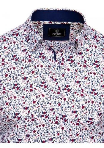 Květovaná pánská košile bílé barvy s dlouhým rukávem