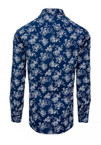 Květovaná pánská košile tmavě modré barvy s dlouhým rukávem