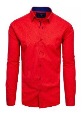 Červená vzorovaná košile s dlouhým rukávem pro pány