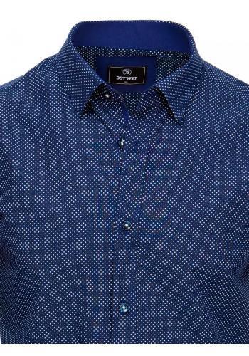 Vzorovaná pánská košile tmavě modré barvy s dlouhým rukávem