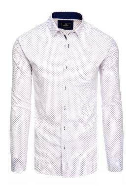 Bílé vzorované košile s dlouhým rukávem pro pány