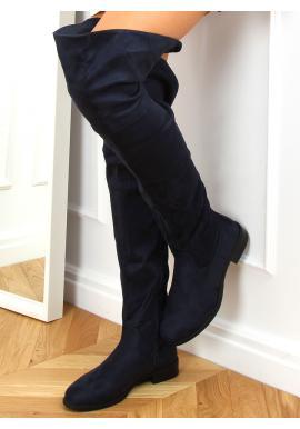 Dámské semišové kozačky nad kolena v tmavě modré barvě