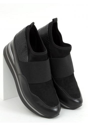 Sportovní dámské boty černé barvy na klínovém podpatku