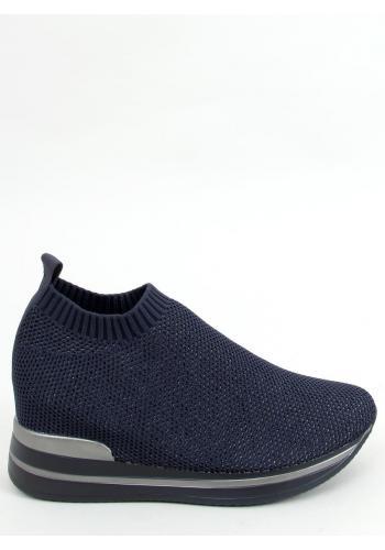 Nazouvací dámské boty tmavě modré barvy na klínovém podpatku