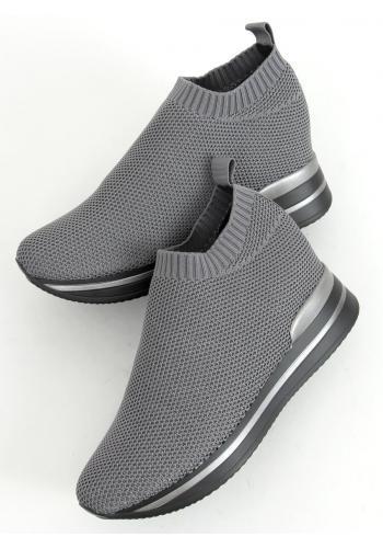 Dámské nazouvací boty na klínovém podpatku v šedé barvě