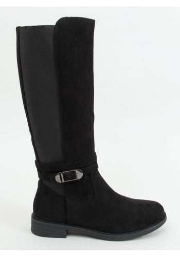Černé klasické kozačky s elastickou vložkou pro dámy