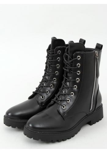Dámské vojenské boty se stříbrným zipem v černé barvě