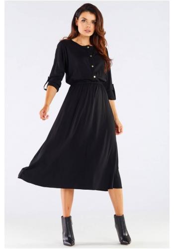 Midi dámské šaty černé barvy se zlatými knoflíky