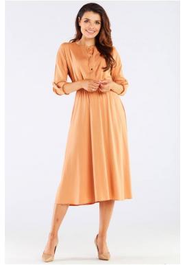 Dámské midi šaty se zlatými knoflíky v béžové barvě