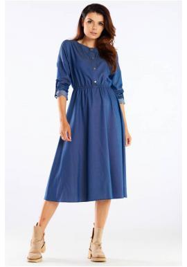 Modré midi šaty se zlatými knoflíky pro dámy