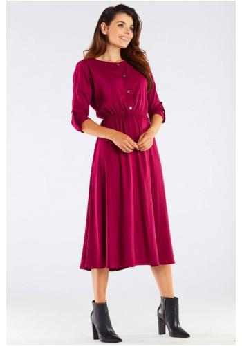 Midi dámské šaty bordové barvy se zlatými knoflíky