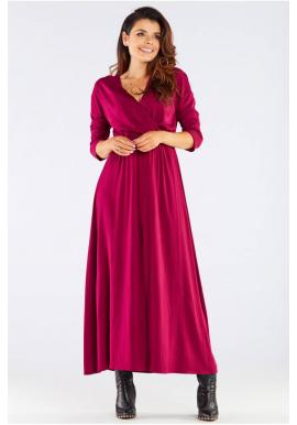 Dámské dlouhé šaty na podzim v bordové barvě