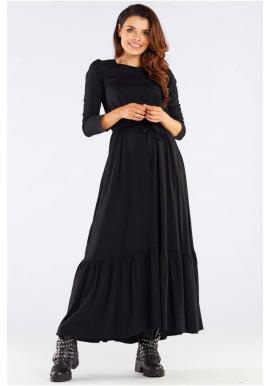 Černé dlouhé šaty s volánem a šněrováním pro dámy