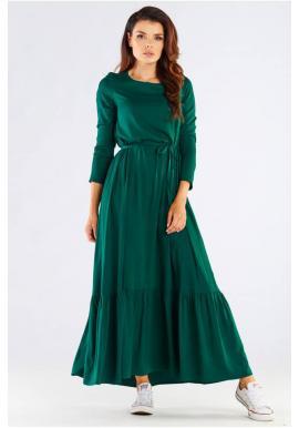 Dlouhé dámské šaty zelené barvy s volánem a šněrováním