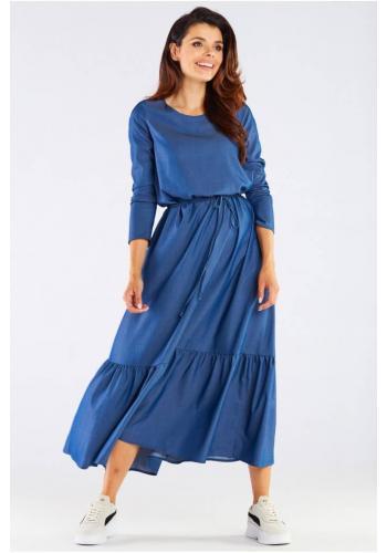 Dámské dlouhé šaty s volánem a šněrováním v modré barvě