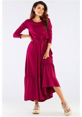 Bordové dlouhé šaty s volánem a šněrováním pro dámy