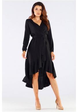 Elegantní dámské šaty černé barvy s vázáním v pase