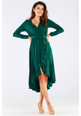 Dámské elegantní šaty s vázáním v pase v zelené barvě