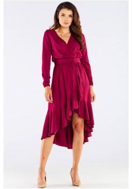 Bordové elegantní šaty s vázáním v pase pro dámy