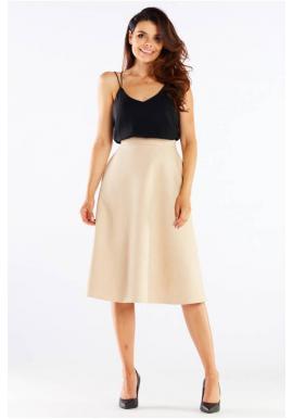 Midi dámská sukně béžové barvy s rozšířeným střihem