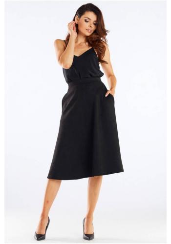 Černá midi sukně s rozšířeným střihem pro dámy