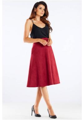 Dámská midi sukně s rozšířeným střihem v bordové barvě