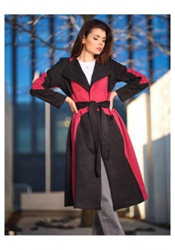 Dlouhý dámský semišový kabát bordovo-černé barvy s páskem